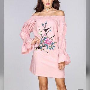 Velzera Pink Floral Bell-Sleeve Off-Shoulder Dress